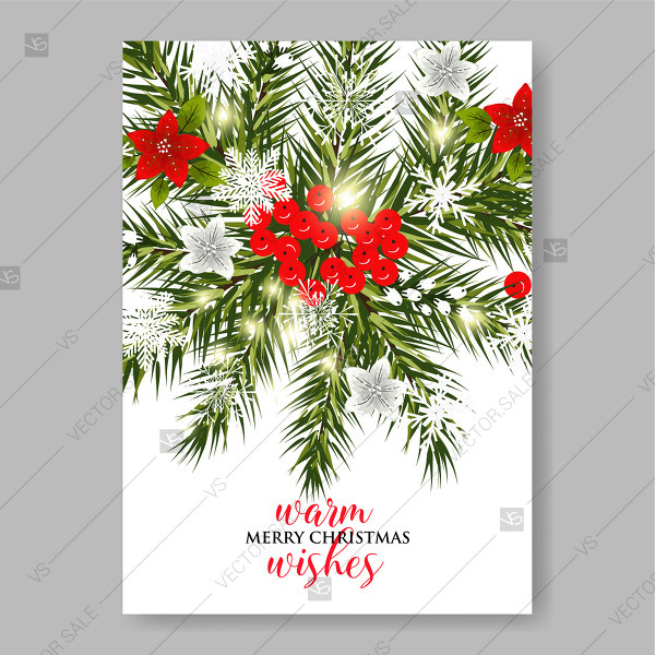 600x600 Red Poinsettia Fir Pine Tree Branches Merry Christmas Vector Clip