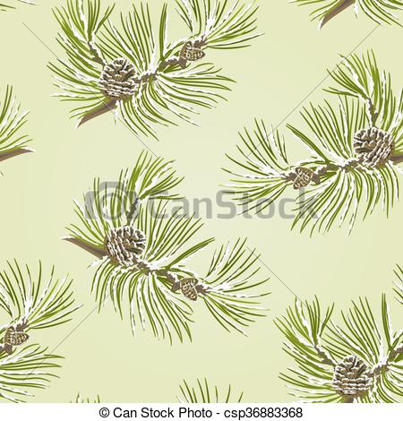 450x470 Seamless Texture Pine Tree Branch With Pine Cones With Snow Vector
