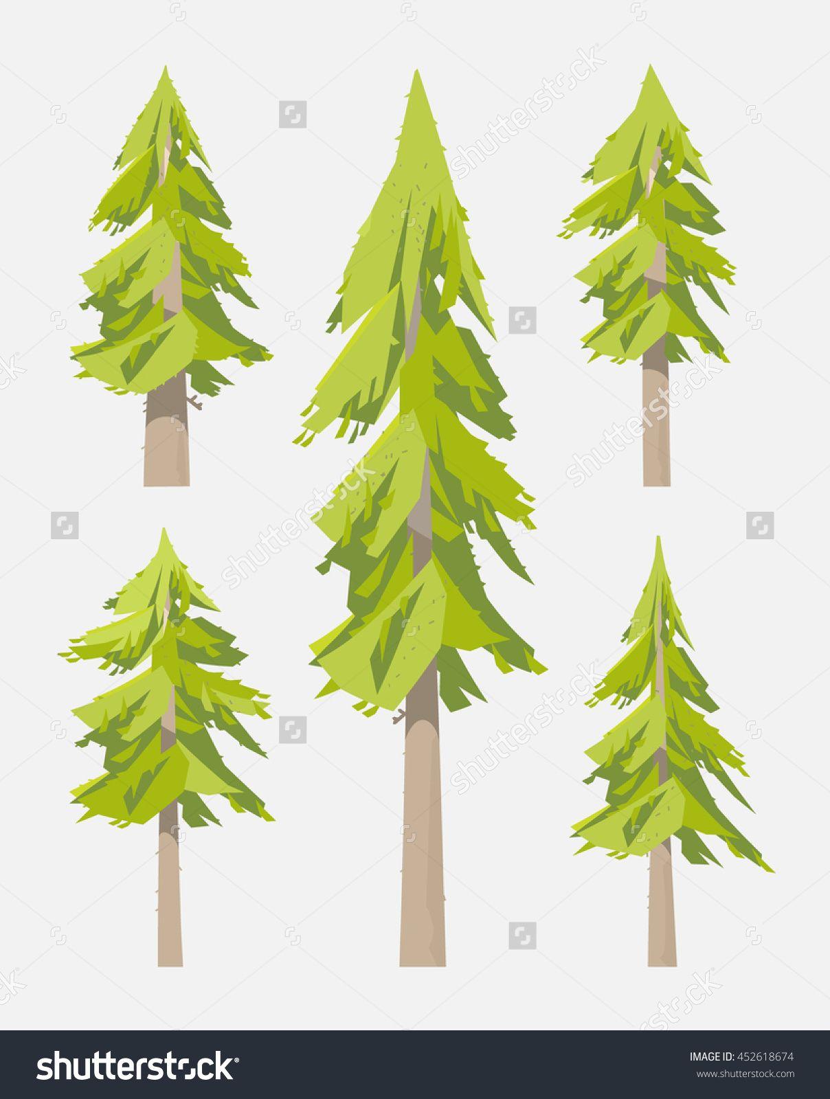 1208x1600 Spruce Set. The Fir Tree Forest. A Set Of Pine Trees. Fir Grove. A