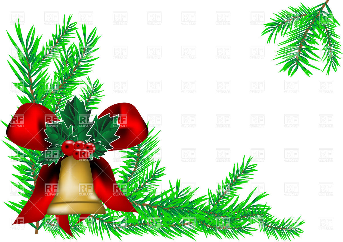 1200x849 Christmas Background With Fir Tree Branch And Bell With Bow Vector