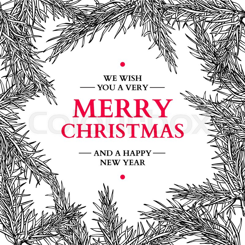 800x800 Christmas Holiday Greeting Card With Fir Tree Branches. Vector