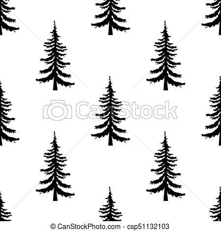 450x470 Pine Tree Pattern. Simple Illustration Of Pine Tree Vector Pattern