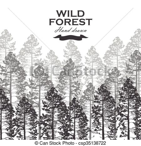 450x467 Wild Pine Forest Background. Landscape Nature. Pine Tree Vector