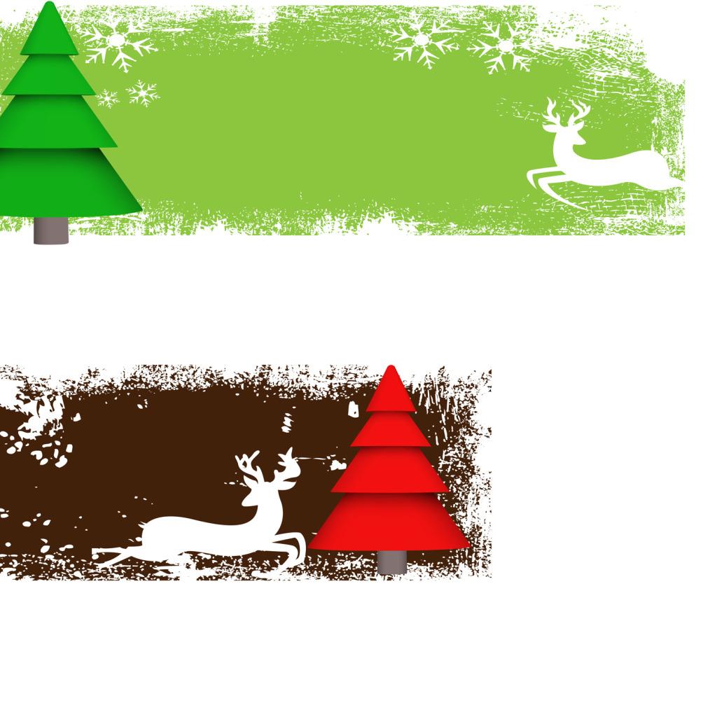 1024x1024 Green Pine Red Pine Tree Vector Cartoon Decorative Vector Free