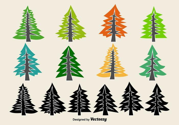 700x490 Flat Pine Vector Icons