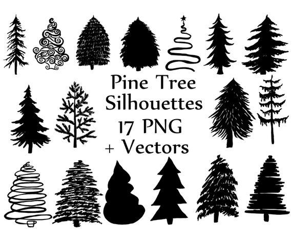 570x475 Christmas Tree Silhouette Clipart Pine Trees Etsy