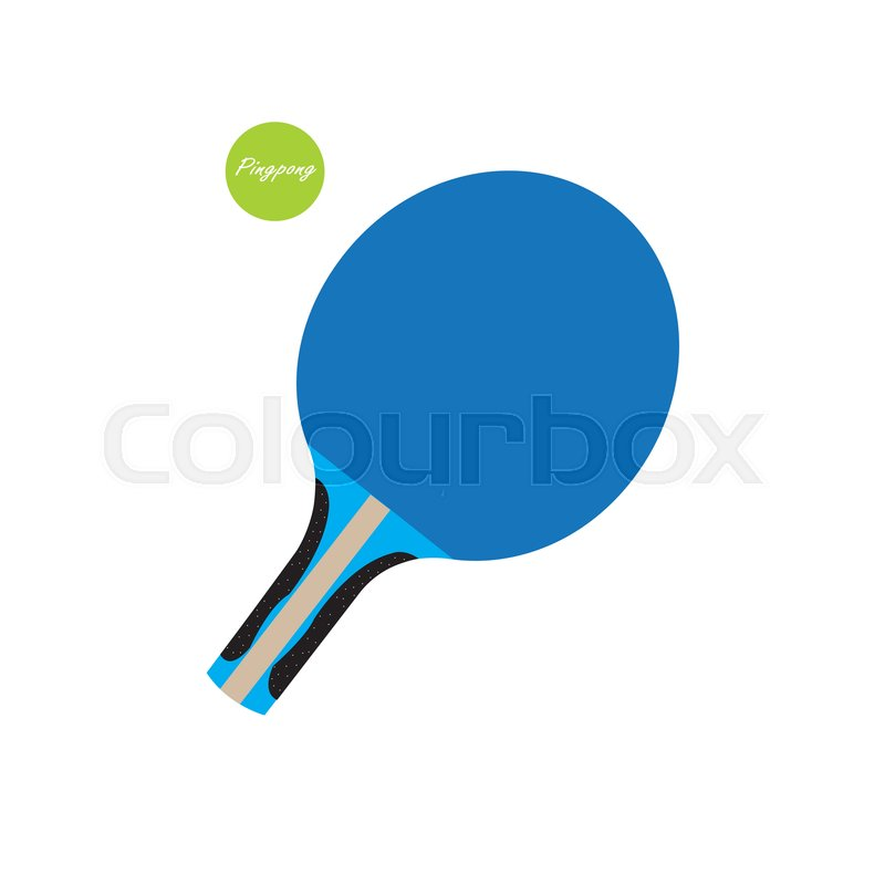 800x800 Blue Ping Pong Paddle With Green Ping Bong Ball On White