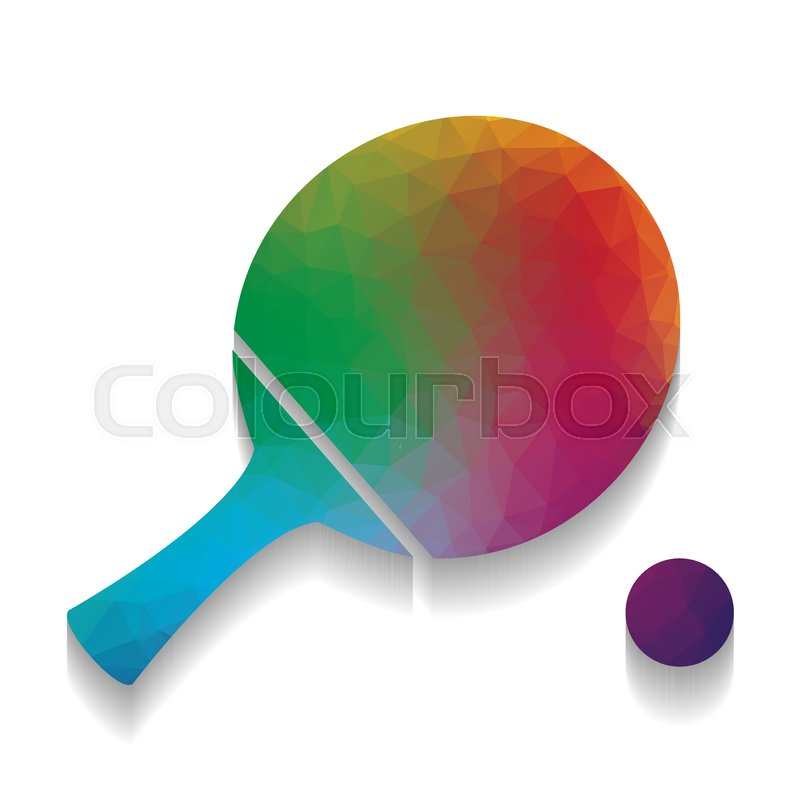 800x800 Ping Pong Paddle With Ball. Vector. Colorful Icon With Bright