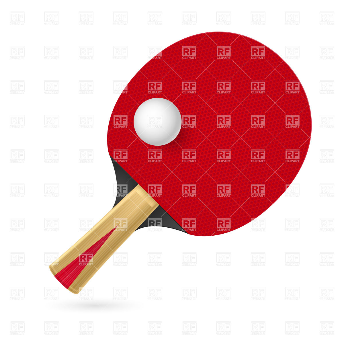 1200x1200 Red Ping Pong (Table Tennis) Racket And Ball Vector Image Vector