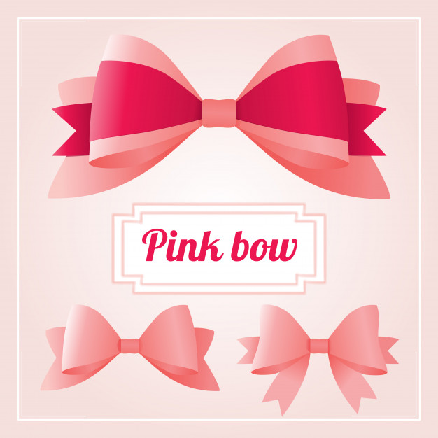 626x626 Luxury Collection Set Of Pink Ribbons And Bows Vector Premium