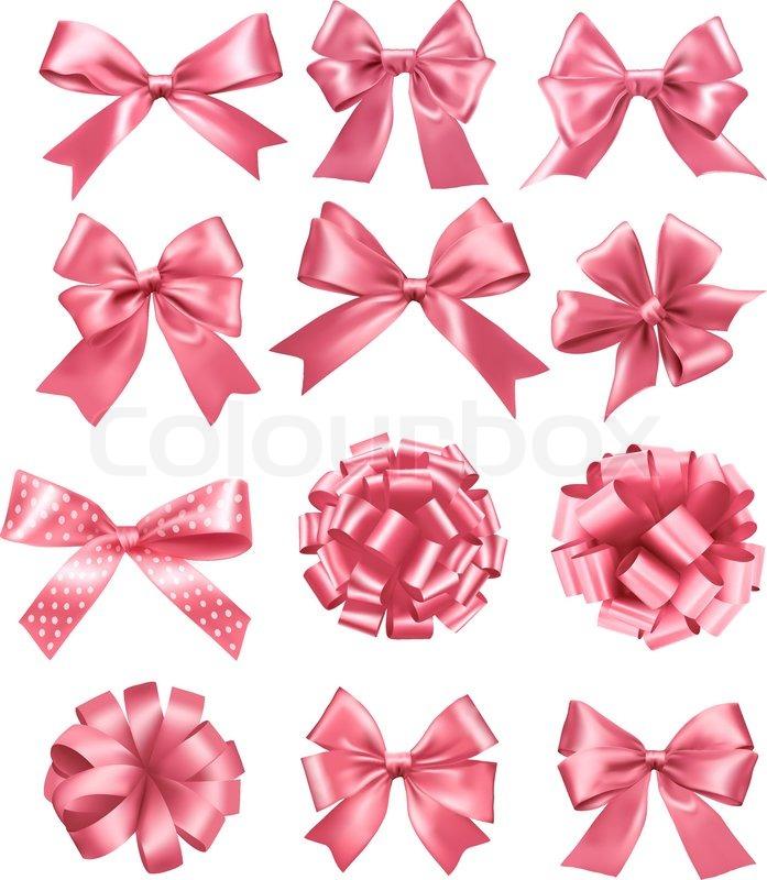 697x800 Big Set Of Pink Gift Bows And Ribbons. Vector Illustration