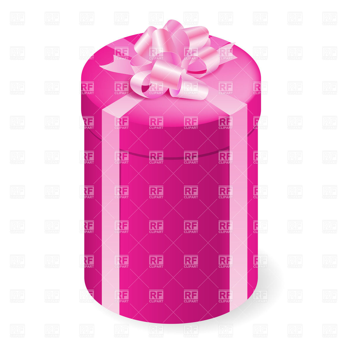 1200x1200 Round Tall Gift Box With Pink Bow Vector Image Vector Artwork Of