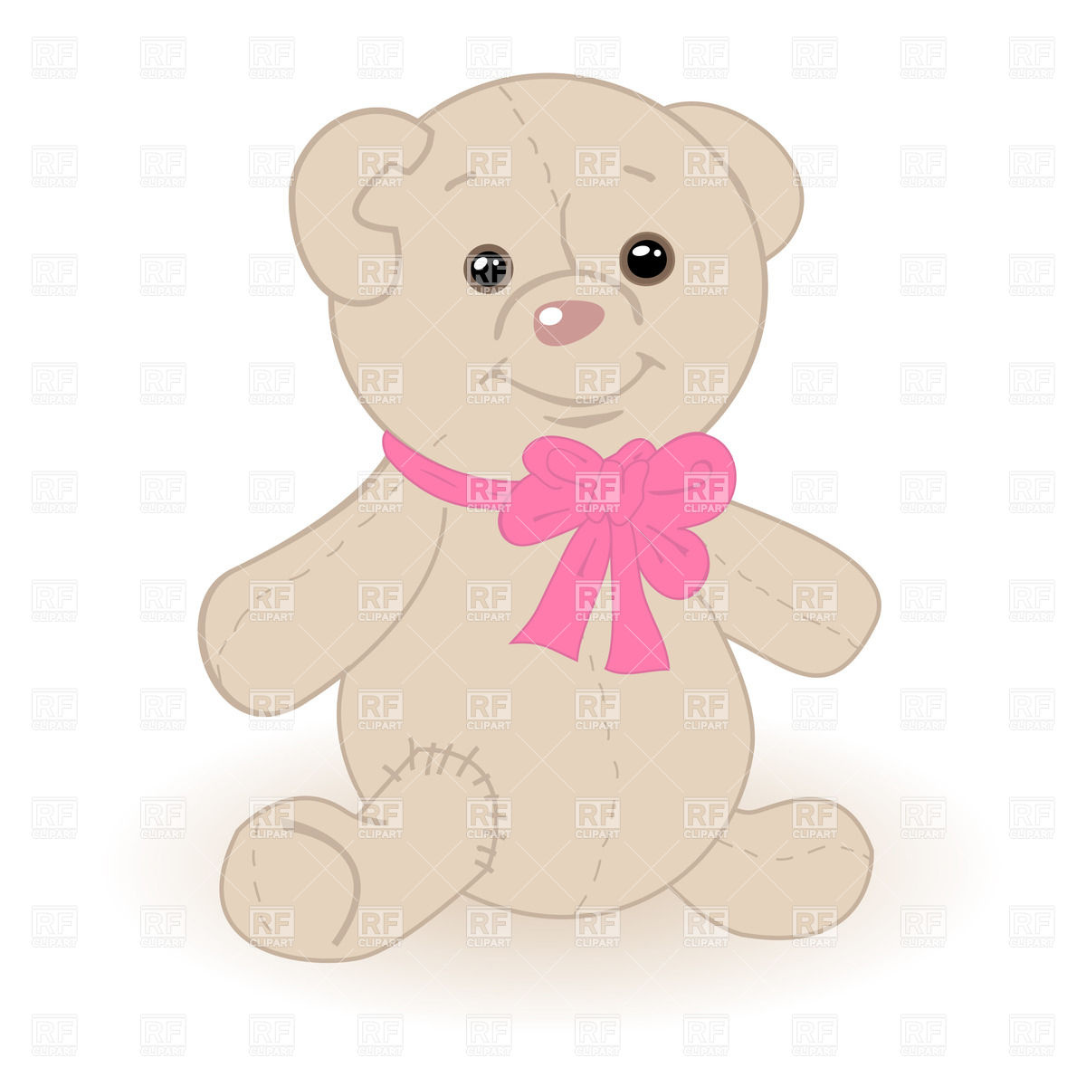 1200x1200 Teddy Bear With Pink Bow Vector Image Vector Artwork Of Plants