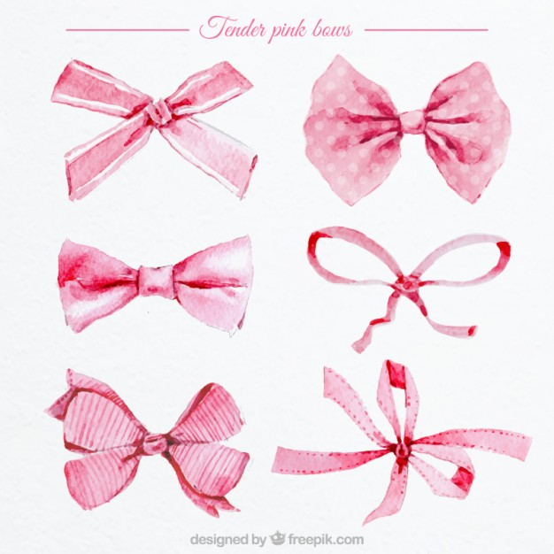 626x626 Watercolor Pink Bows Vector Free Download
