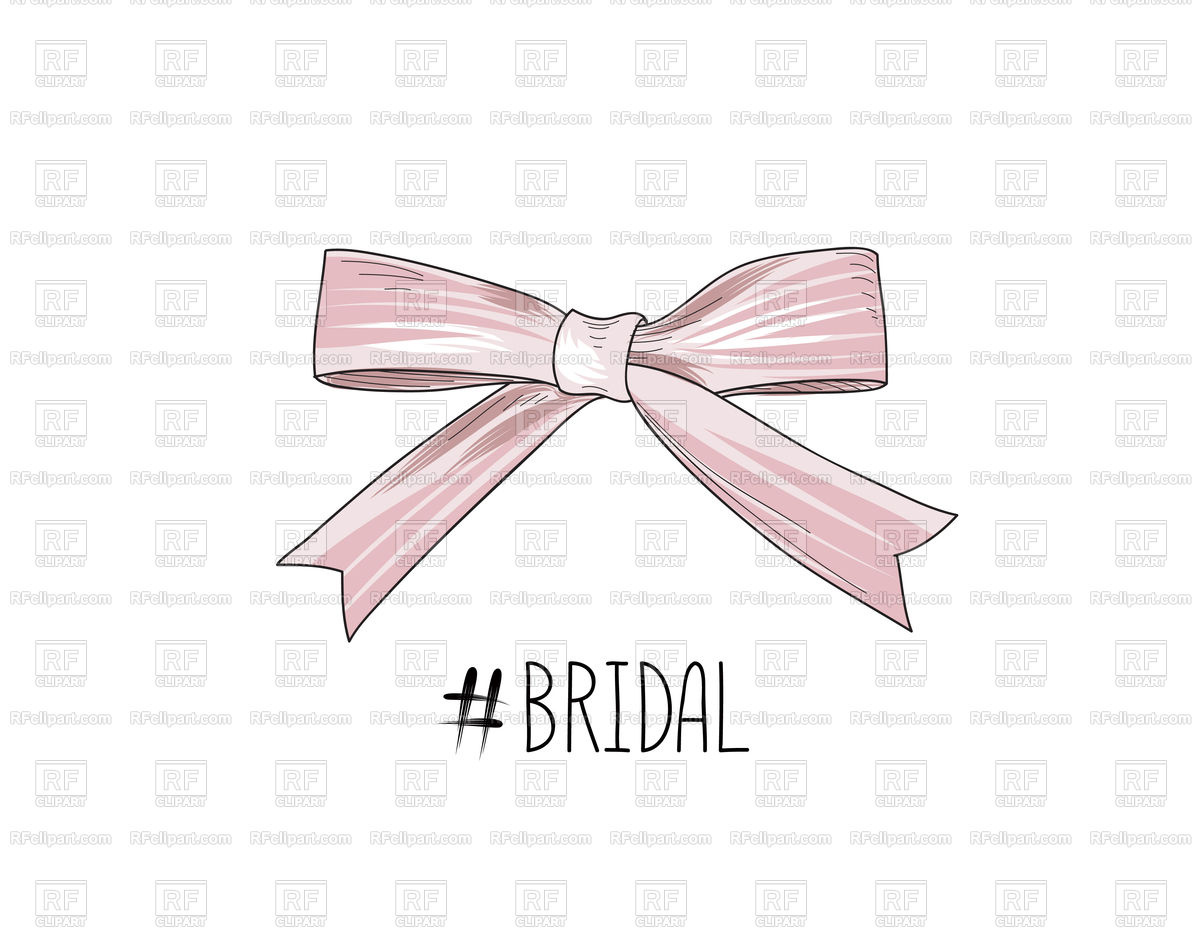 1200x928 Bow Drawn. Gentle Cream Pink Bow Ribbon. Vector Image Vector