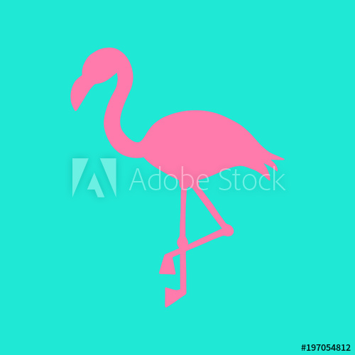 500x500 Mint Background With Pink Flamingo Silhouette, Summer Tropical
