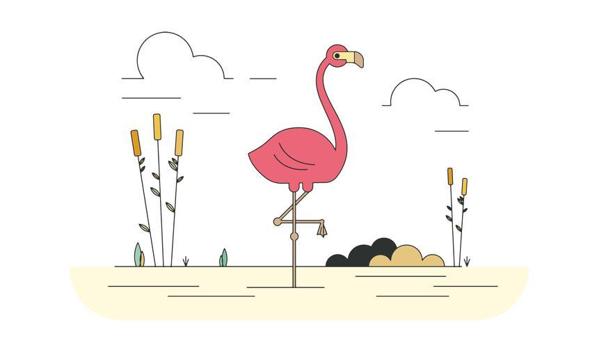871x490 Pink Flamingo Vector