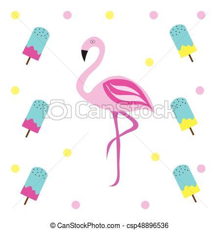450x470 Pink Flamingo Vector Illustration With Ice Cream