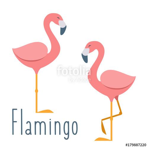 500x500 Pink Flamingo. Vector Illustration In Flat Cartoon Style Stock