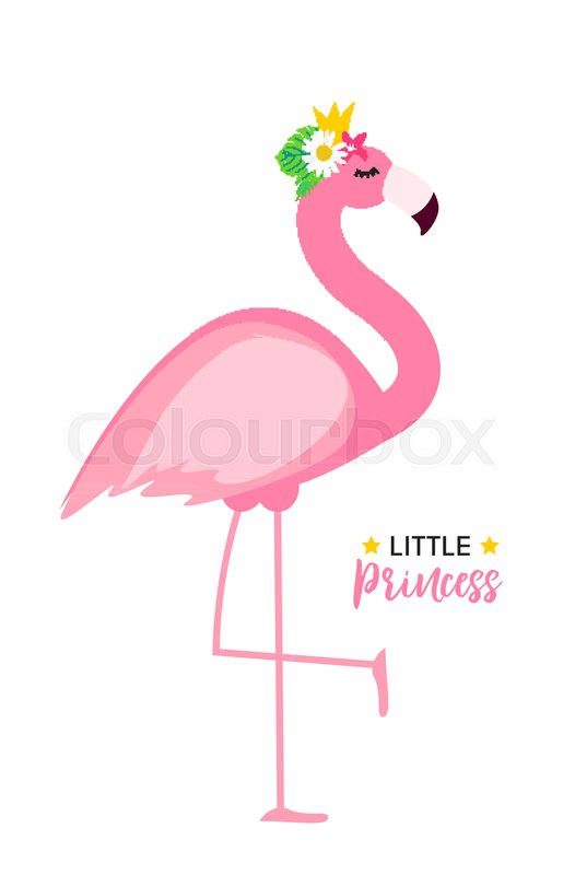 526x800 Cute Little Princess Abstract Background With Pink Flamingo Vector