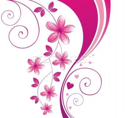 400x378 Pink Floral Flower Border Photo Stock Vector Illustration