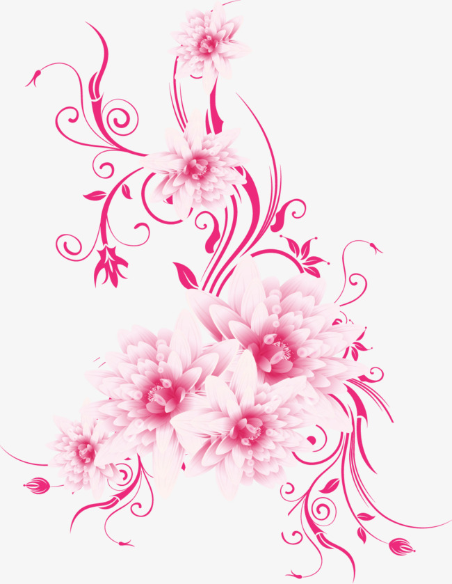 650x839 Pink Flowers Vector, Flowers, Pink, Vector Png And Vector For Free
