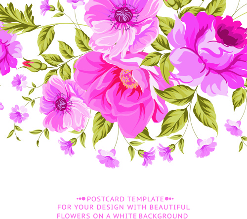 500x443 Pink Flowers Vintage Card Vector Free Vector In Encapsulated