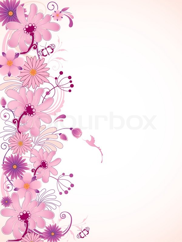 600x800 Vector Floral Background With Pink Flowers Stock Vector Colourbox
