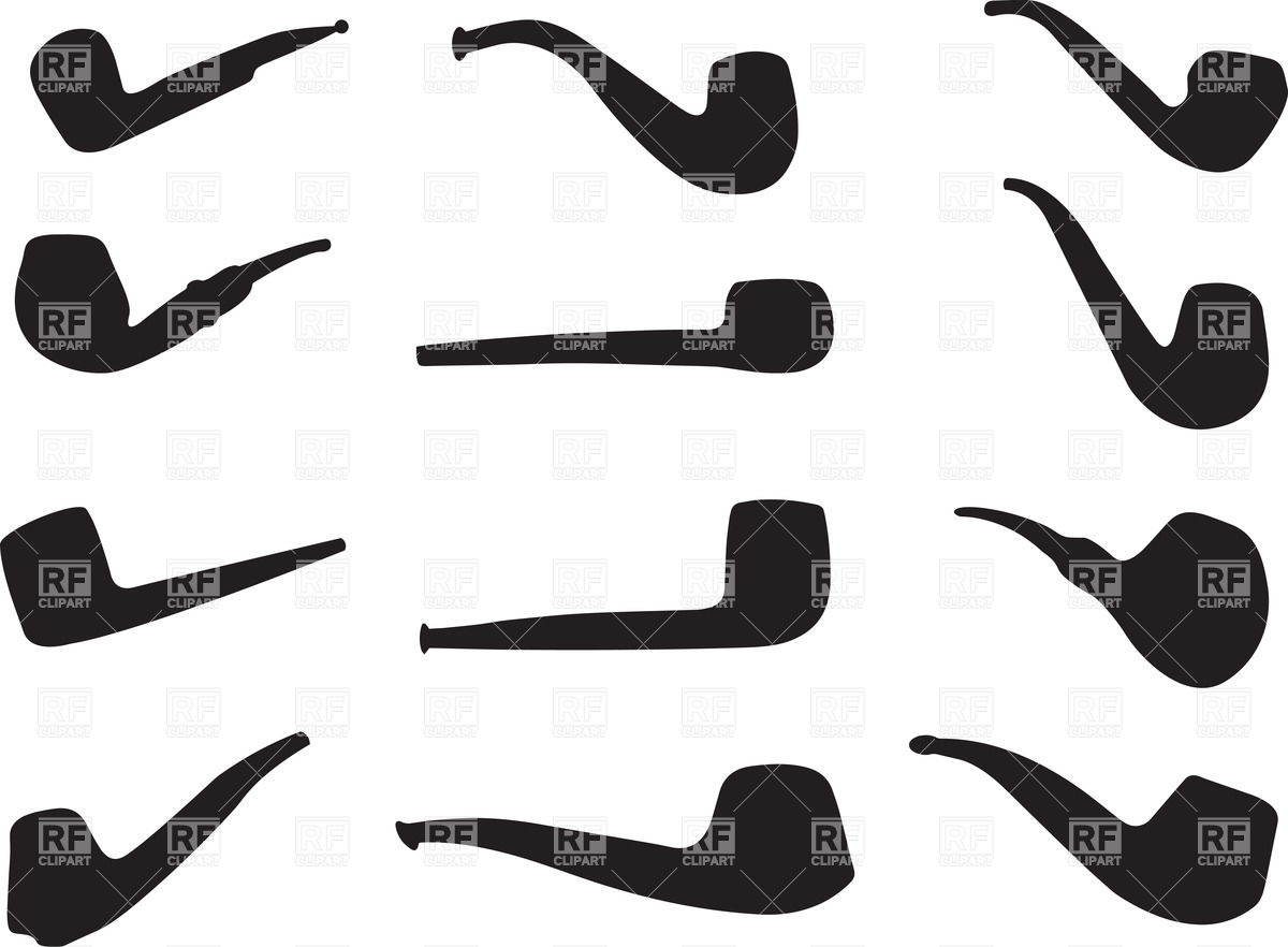 1200x882 Smoking Tobacco Pipe Silhouettes Vector Image Vector Artwork Of