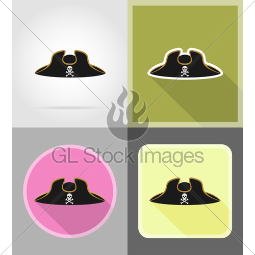 500x500 Pirate Hat Tricorn Flat Icons Vector Illustration Gl Stock Images