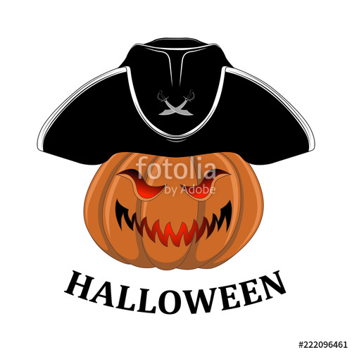500x500 Pumpkin In A Pirate Hat. Vector Image On White Background. Stock