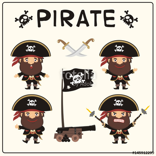 500x500 Set Isolated Cartoon Pirate In Black Pirate Hat With Jolly Roger