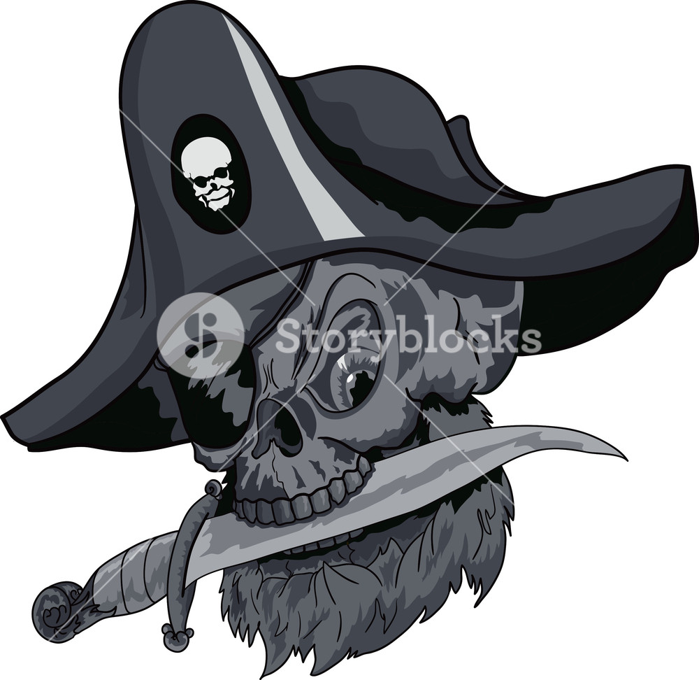 1000x972 Skull Vector Element With Pirate Hat Royalty Free Stock Image