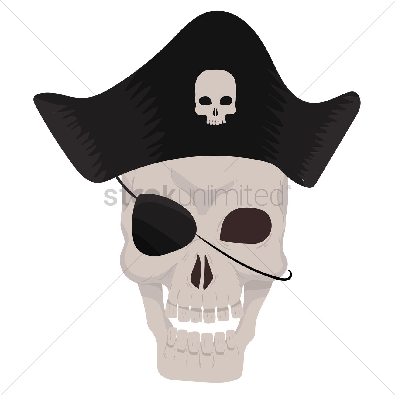 1300x1300 Free Pirate Skull Wearing Pirate Hat Vector Image