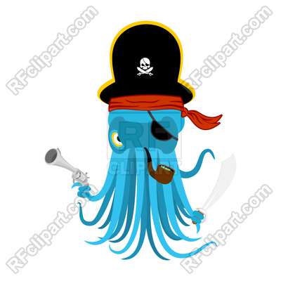 400x400 Octopus In Pirate Hat Vector Image Vector Artwork Of Plants And