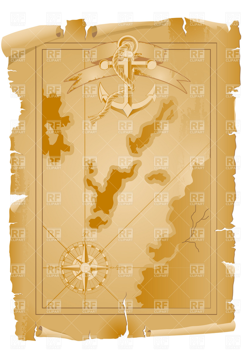 814x1200 Old Pirate Map With Anchor And Ribbon Vector Image Vector