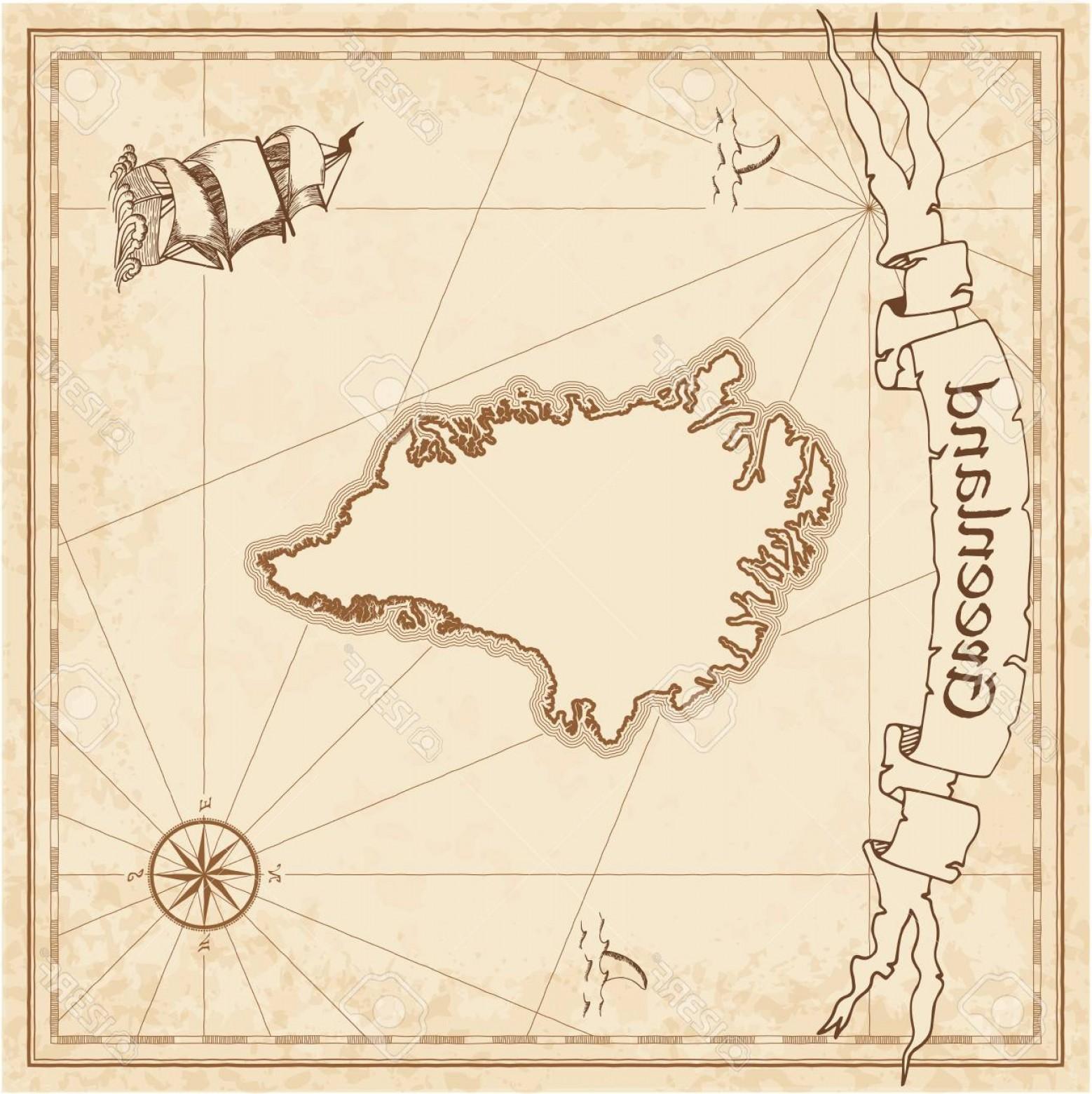 1558x1560 Photostock Vector Greenland Old Treasure Map Sepia Engraved