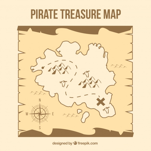 626x626 Pirate Treasure Map In Brown Tones Vector Free Download