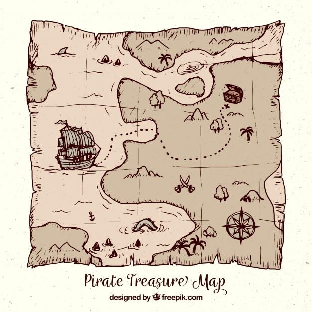 626x626 Pirate Treasure Map In Hand Drawn Style Vector Free Download