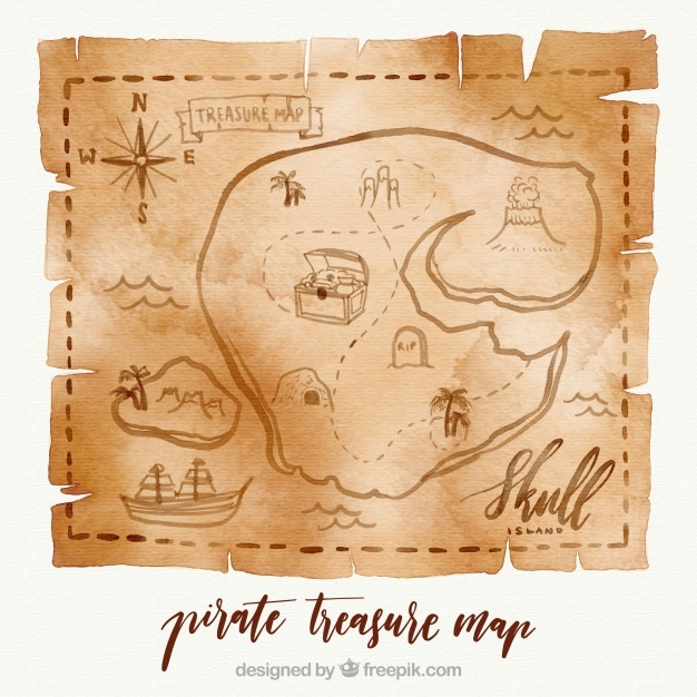 626x626 Treasure Map Vector Illustrations 4x Eps