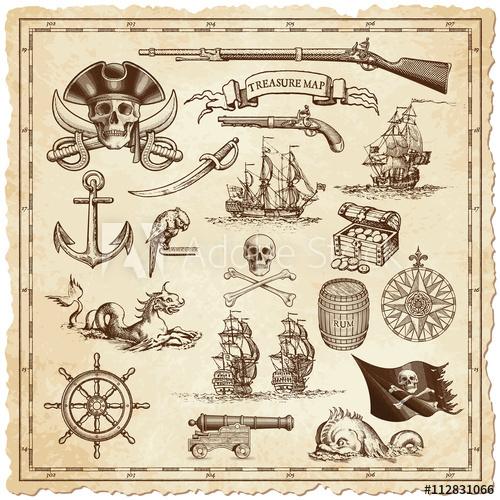 500x500 Treasure Map Vector Illustrations