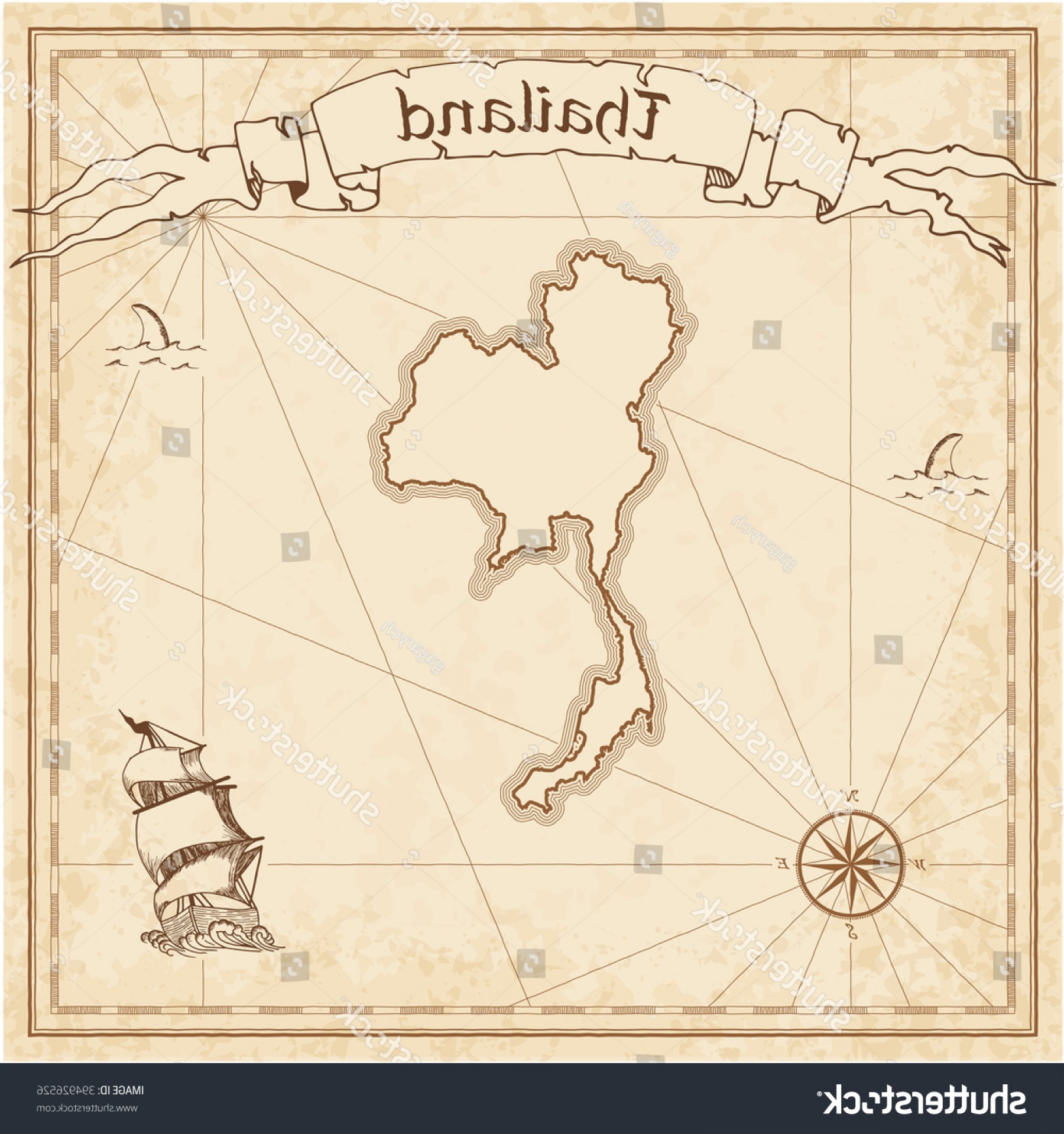 1800x1918 Vector Treasure Map Thailand Stylized Old Shopatcloth