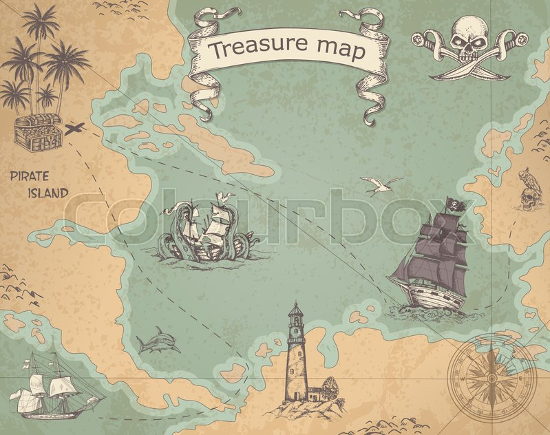 799x632 Vintage Vector Pirate Map With Sailing Vessels. Ancient Treasure