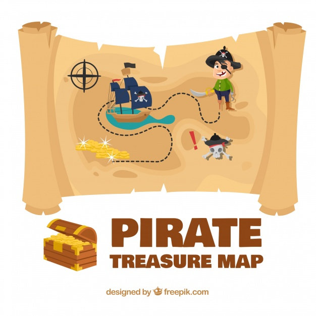 626x626 Colored Pirate Treasure Map Vector Free Download