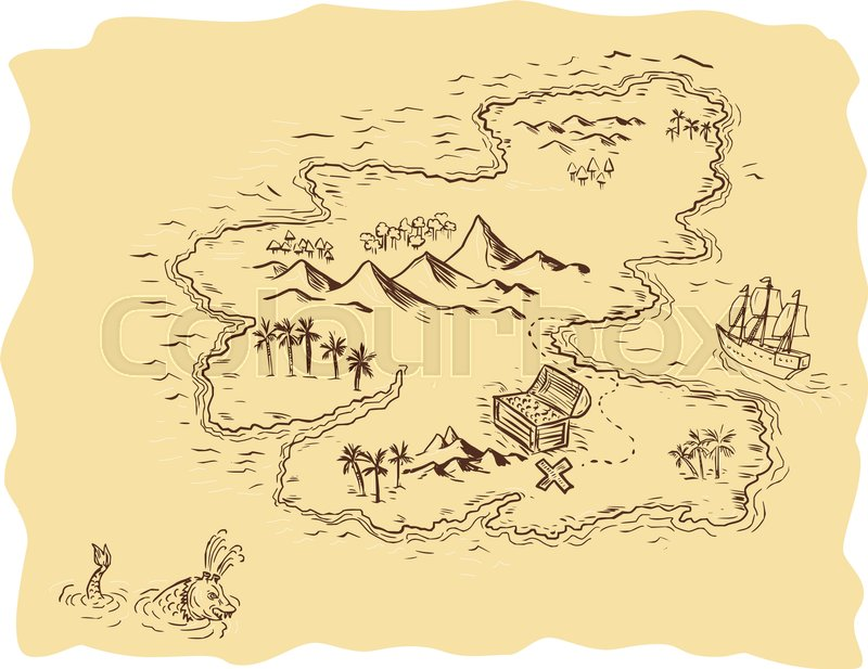 800x617 Drawing Sketch Style Illustration Of A Pirate Treasure Map Showing