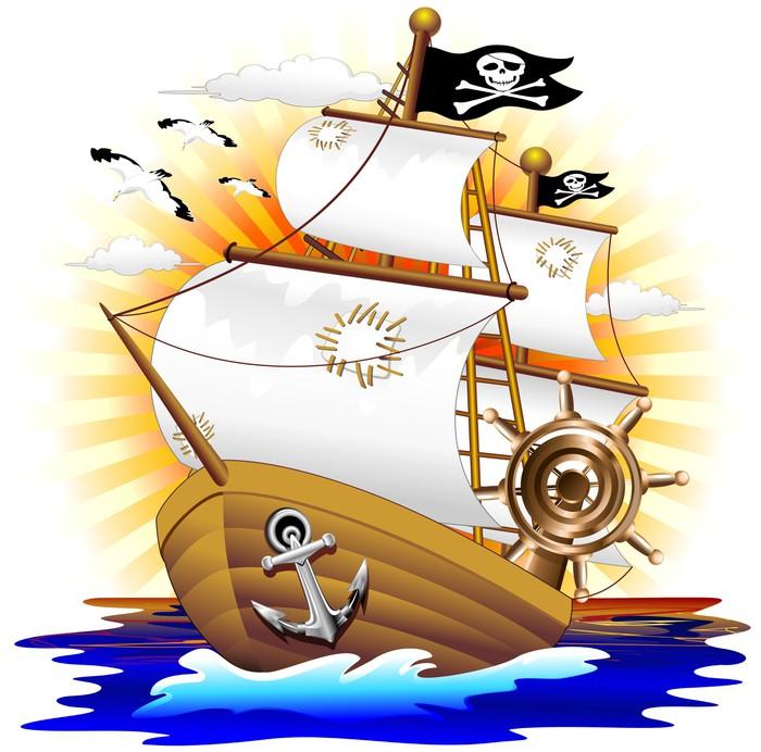 700x692 Nave Pirata Cartoon Pirate Ship Vector Wall Mural We