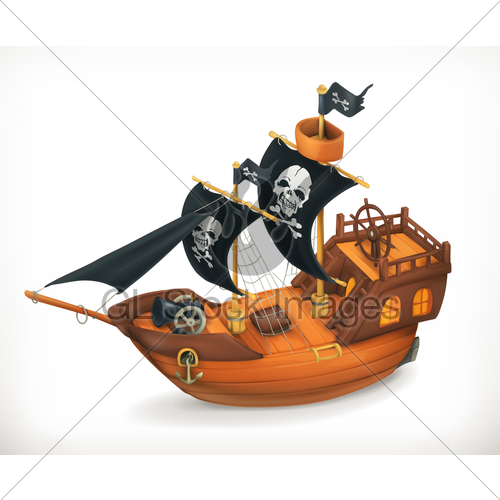 500x500 Pirate Ship, Vector Icon Gl Stock Images
