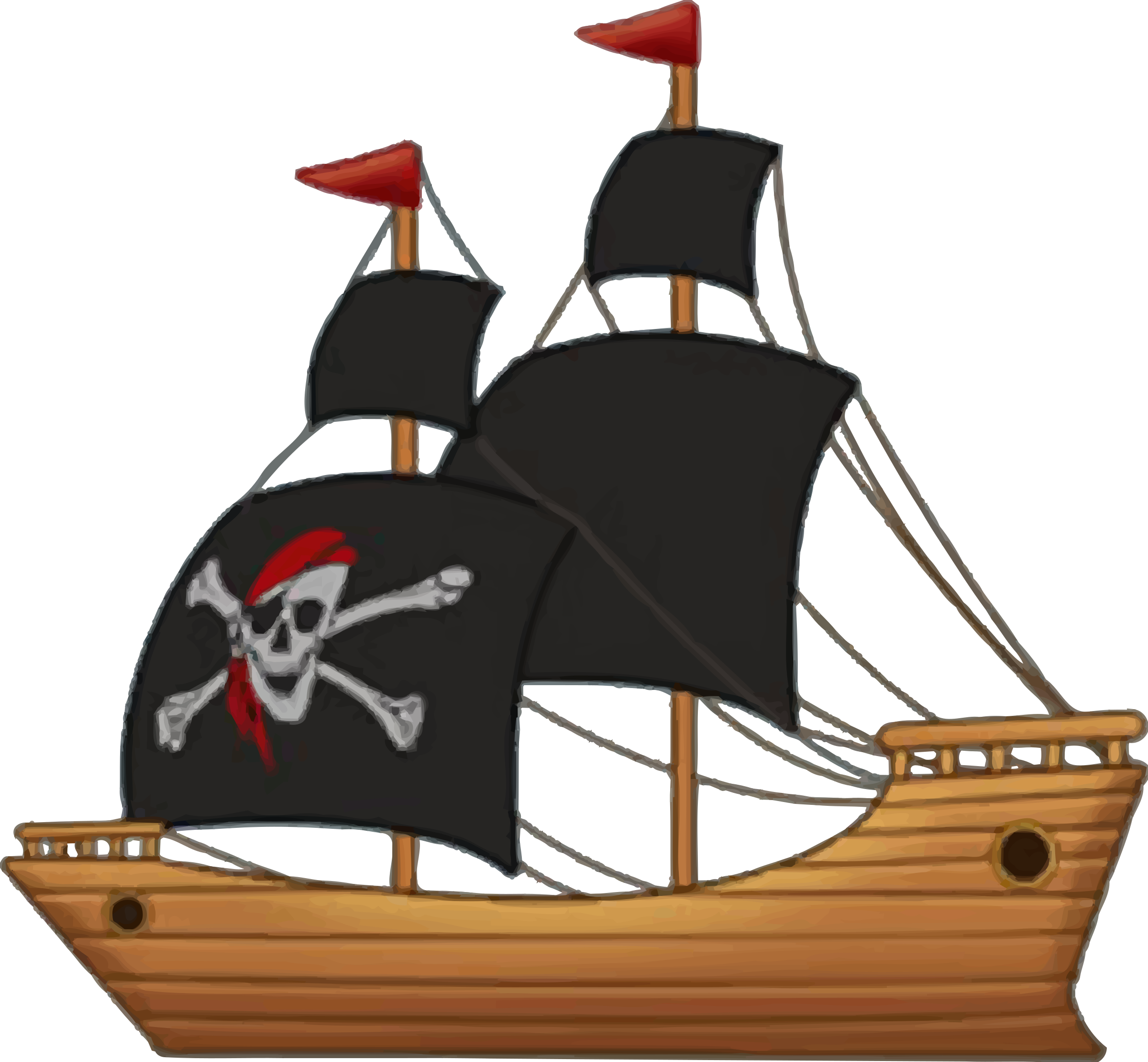 2400x2218 Pirate Ship Vector Clipart Image