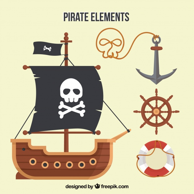626x626 Pirate Ship And Elements In Flat Design Vector Free Download