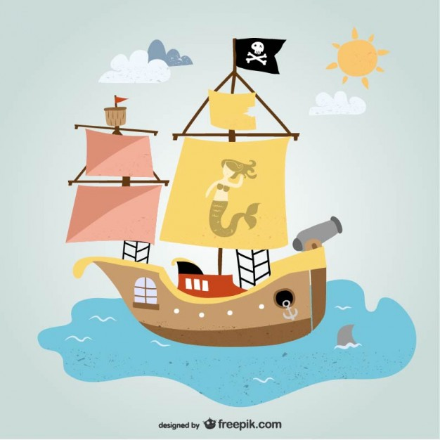 626x626 Pirate Ship In The Ocean Vector Free Download